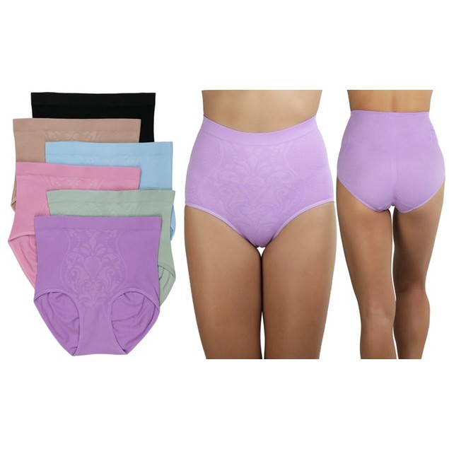 6 Pack Plus Size Women's Slimming High-Waisted Panty Briefs