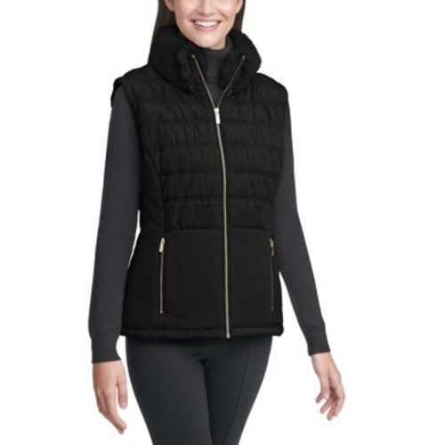 Calvin Klein Women's Faux-Fur Collar Vest Black Size Extra Large