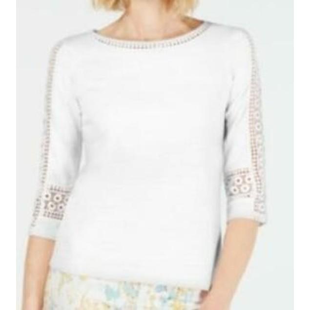 Charter Club Women's Crochet-Inset Top White Size XX Large