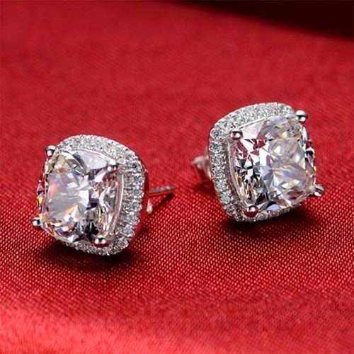 Cushion Cut Halo Studs In Sterling Silver