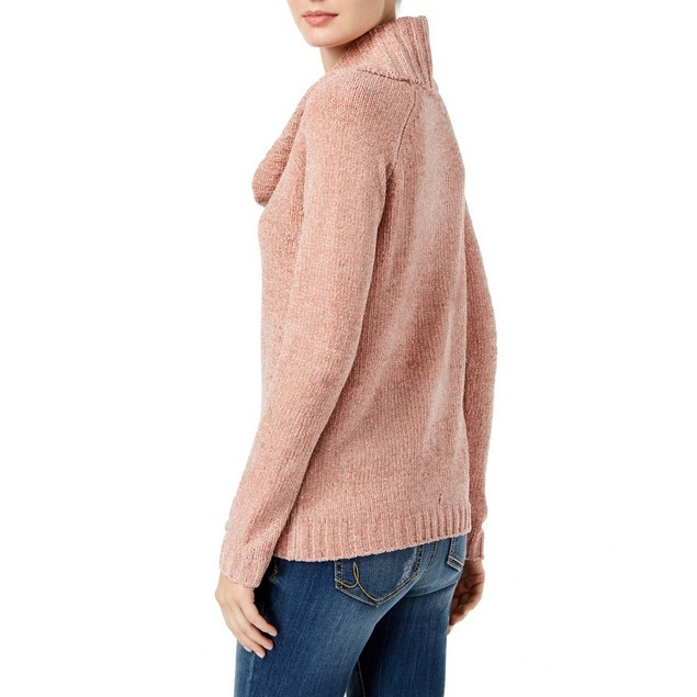 INC International Concepts Wo Cowl-Neck Chenille Sweater Pink Large