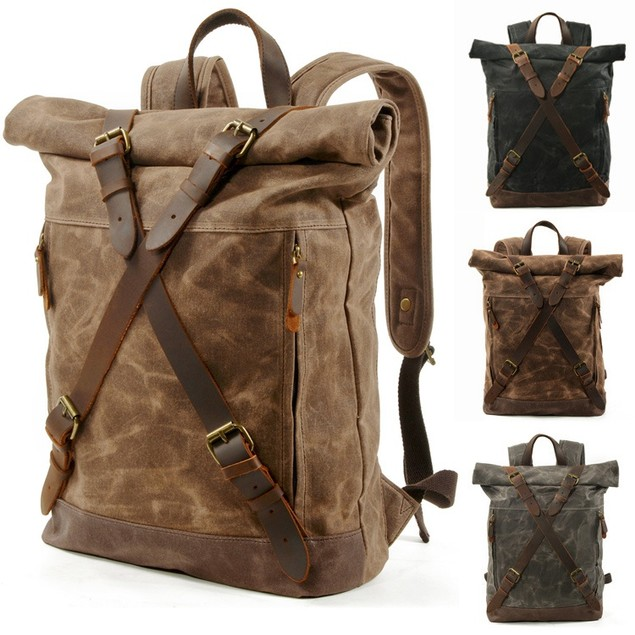 Double Buckled Roll-top Closure Bags Vintage Canvas Backpack Waterproof Bookbag for Men and Women