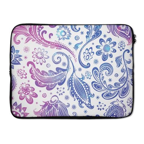 "EmbraceCase 17"" Ink-Fuzed Laptop Sleeve - Purple & Blue Flowered"