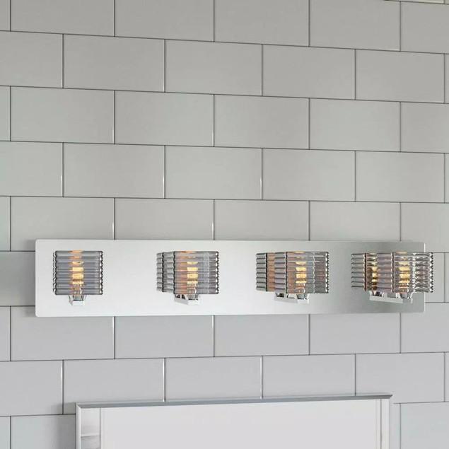 Hampton Bay Modern Flair Olivet 4 Bath Light Polished Chrome, Glass Discs