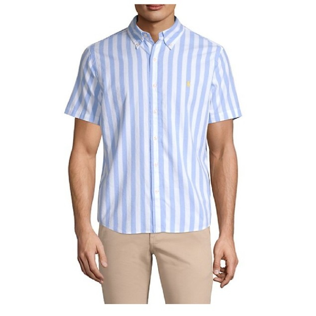 Polo Ralph Lauren Classic-Fit Striped Short-Sleeve Poplin Shirt White M