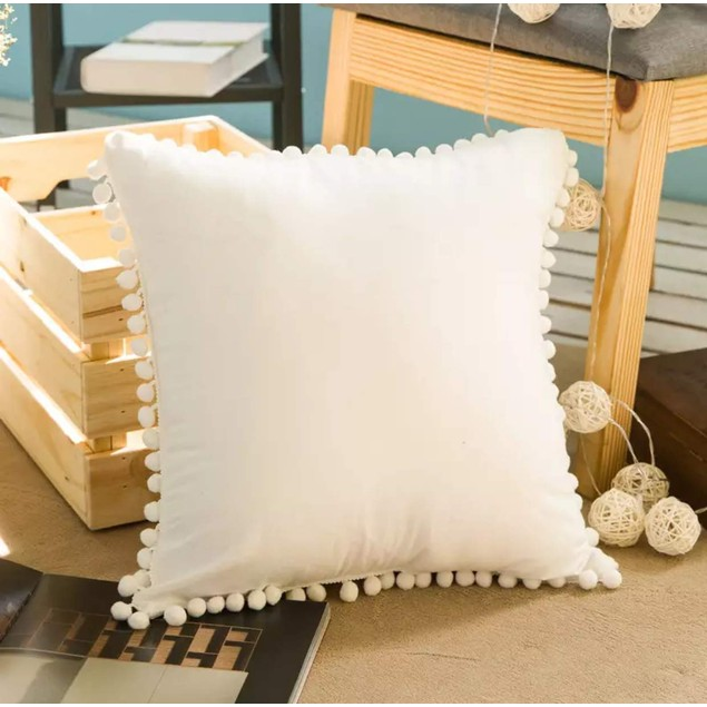 STATEMENT PIECE Pom Poms Fringe Throw Pillow Covers (Fairy White)