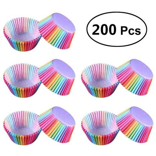 200Pcs Rainbow Baking Cupcake Molds