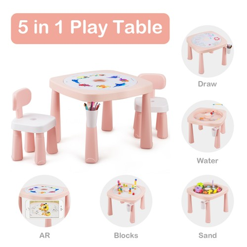 Costway 5in1 Kids Activity Table Chair Set AR Function Water Building Block
