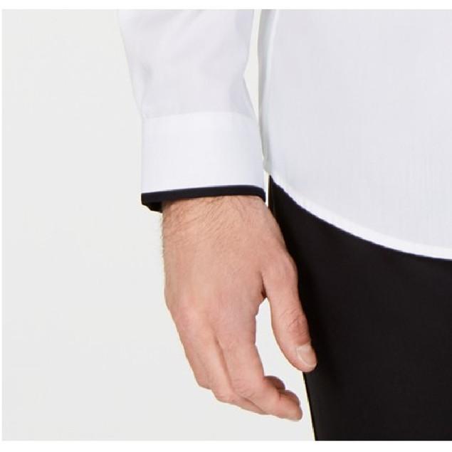 Alfani Performance Stretch Circle Web Print Dress Shirt Purple 17x34-35
