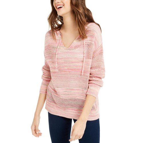Hooked Up By Iot Juniors' Pointelle Hoodie Pink Size  Extra Small