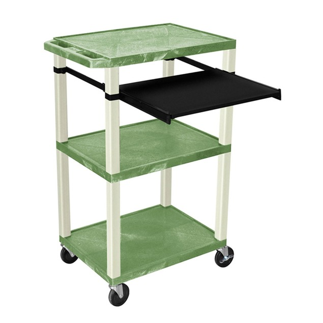 """Luxor 42"""" Three Shelves AV Electric Cart with Pullout - Putty Legs, Green"""
