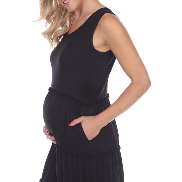 Maternity Scoop Neck Tiered Midi Dress - 5 Colors - Extended Sizes