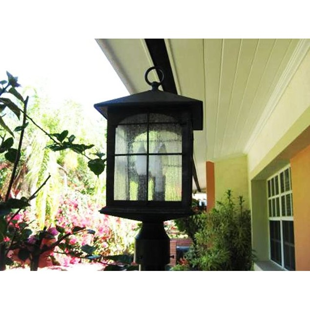 Home Decorators Collection Brimfield 3-Light Post Light, Aged Iron Finish