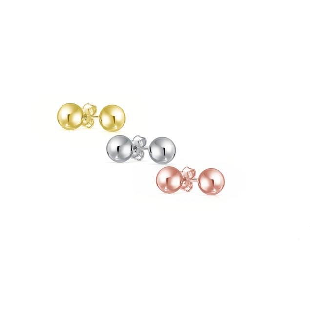 Set of 3 Sterling Silver Ball Stud Earrings