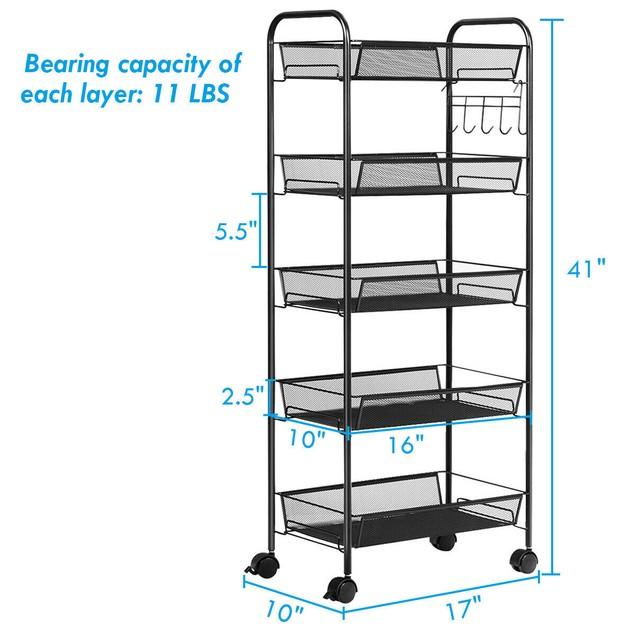 Costway 5 Tier Storage Rack Trolley Cart Home Kitchen Organizer Utility Bas