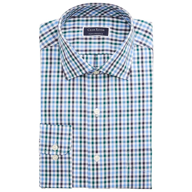 Club Room Men's Wrinkle-Resistant Gingham Dress Shirt Navy Size 16-32-33