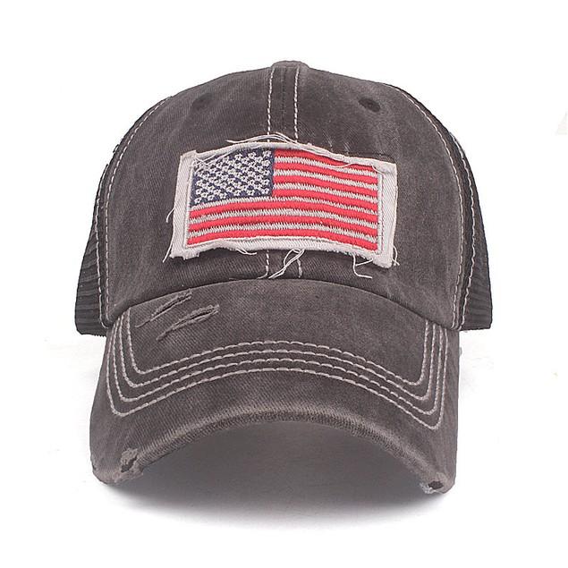 Women's American Flag Mesh Cap Embroidered Baseball Cap Washed Coating