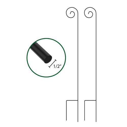 Shepherd Hooks-Set of 2-Metal Pole with Hooks 65 in.