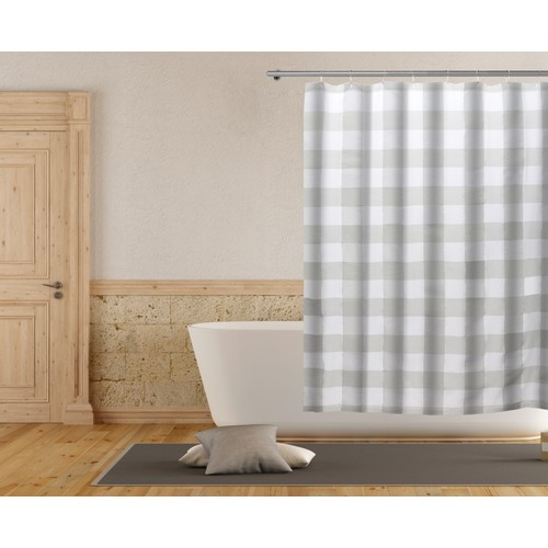 Plaid Buffalo Check Cotton Blend Shower Curtain with Hooks