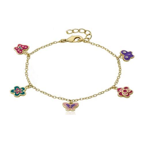18KGP Multi Color Flowers & Butterflies Children's Charm Bracelet