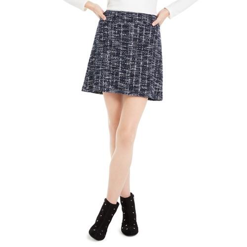 Maison Jules Women's Plaid A-Line Mini Skirt Blue Size 12