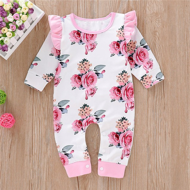Baby Girl Round Neck Long Sleeve Floral Romper
