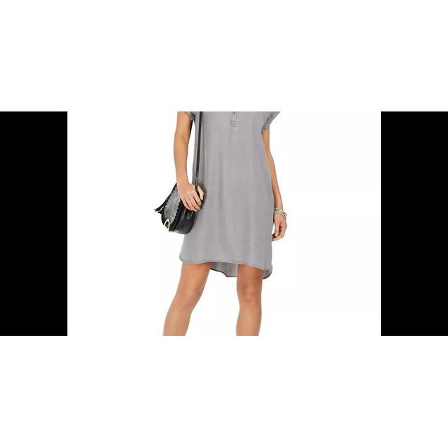 Style & Co Women's High Low Chambray Shirt Dress Grey Size Large