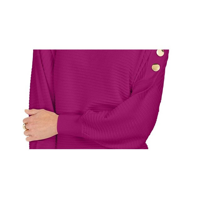 JM Collection Women's Button-Sleeve Sweater Purple Size Large