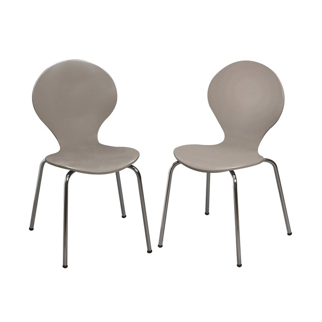 Childrens 2 Chair Set With Chrome Legs (Grey Color)