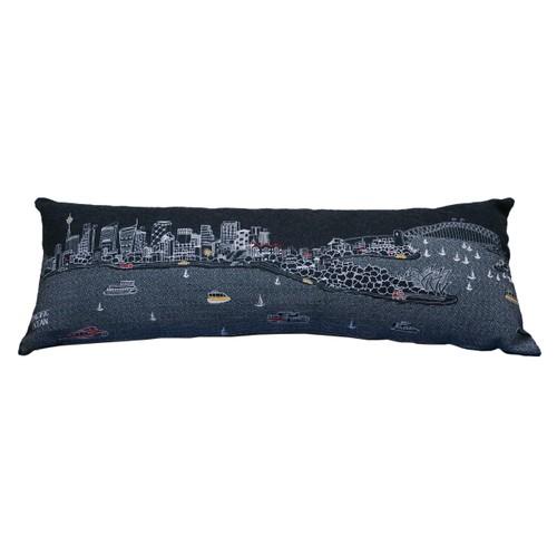 Spura Home Sydney Skyline Embroidered Wool Cushion Day/Night Setting