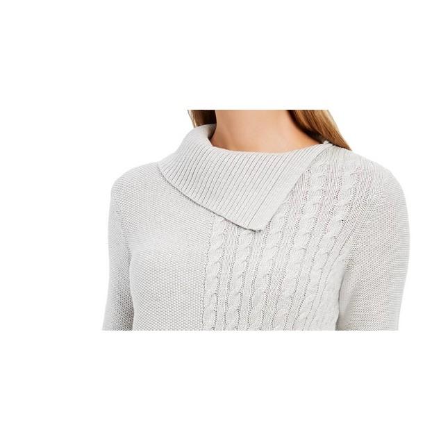 Charter Club Women's Patchwork-Stitch Asymmetrical-Collar Gray Size Large