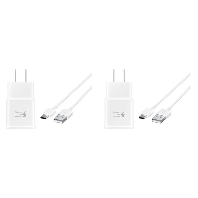 Type C Two Pack with Wall Adaptive Fast Charger for Galaxy S9,S8, Note 8
