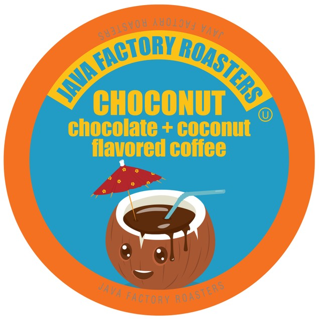 Java Factory Coffee Pods for Keurig Brewers, Chocolate Coconut, 40 Count