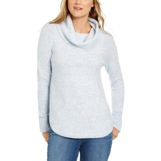 Style & Co Women's Cowl-Neck Waffle-Knit Sweater Gray Size Extra Large