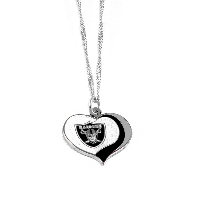 Oakland Raiders NFL Glitter Heart Necklace Charm Gift