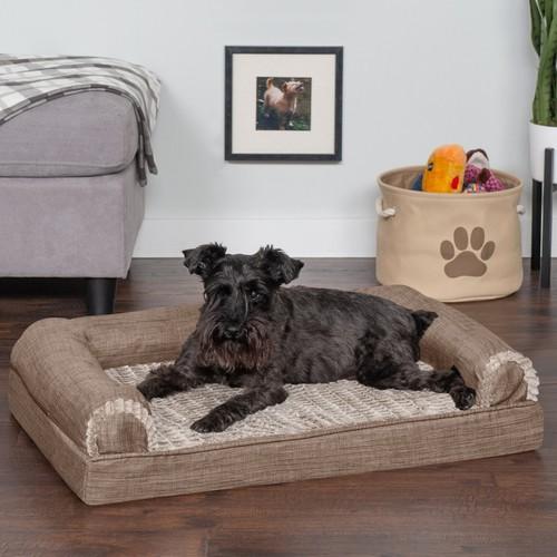FurHaven Luxe Fur & Performance Linen Cooling Gel Sofa Pet Bed