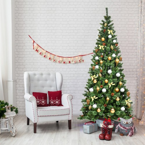 Costway 8 ft Premium Hinged Artificial Christmas Tree Mixed Pine Needles w/