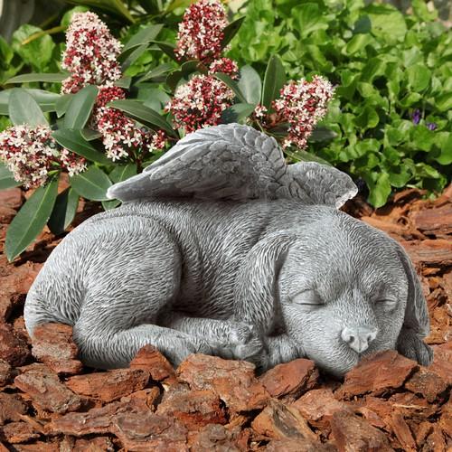 Pet Memorial Statue-Sleeping Angel Dog  Keepsake Sculpture-Grave Marker