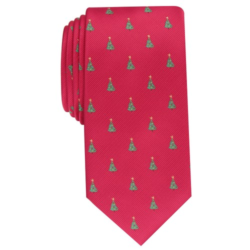 Club Room Men's Classic Evergreen Neat Tie Red Size Regular