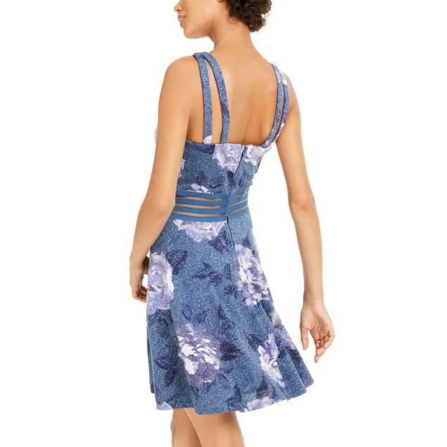 City Studios Juniors' Glitter Floral-Print Skater Dress Blue Size 11