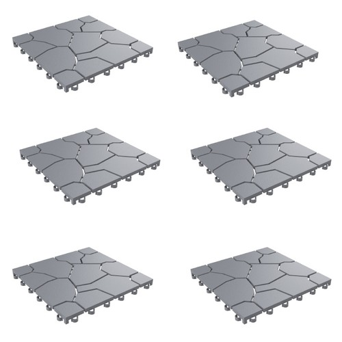 Set of 6 Patio and Deck Tiles  Stone Look Outdoor Pavers for Water Drainage
