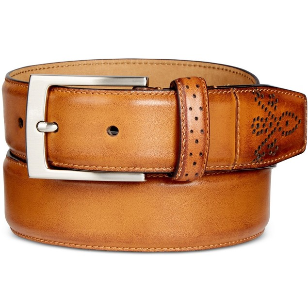 Tasso Elba Men'sFeather-Edge Leather Dress Belt Tan Beige Size 40 Regular