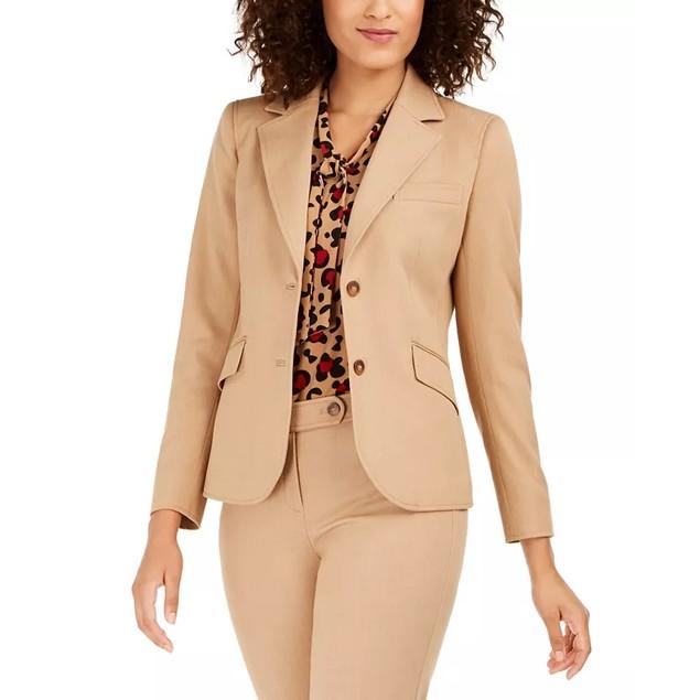 Anne Klein Women's Twill Two-Button Blazer Brown Size 14