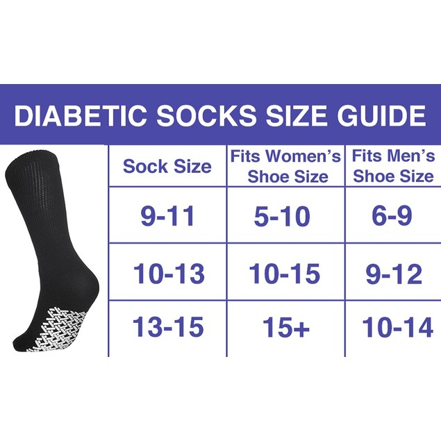 12 Pairs Physicians Approved Non Slip Diabetic Crew Socks Unisex Black Grey White