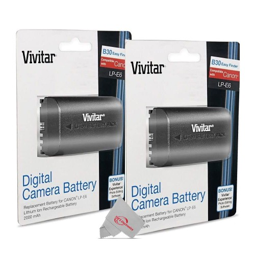 Two Packs Replacement Battery for Canon LP-E6