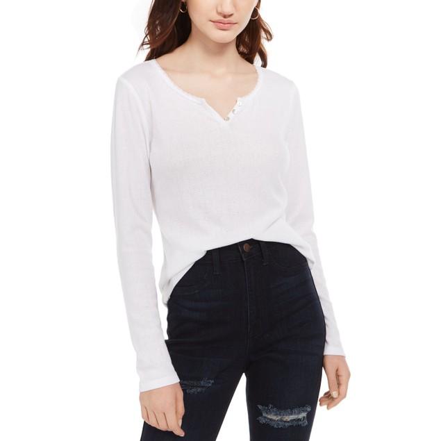Ultra Flirt  Juniors' Pointelle-Knit Henley Top White Size Small
