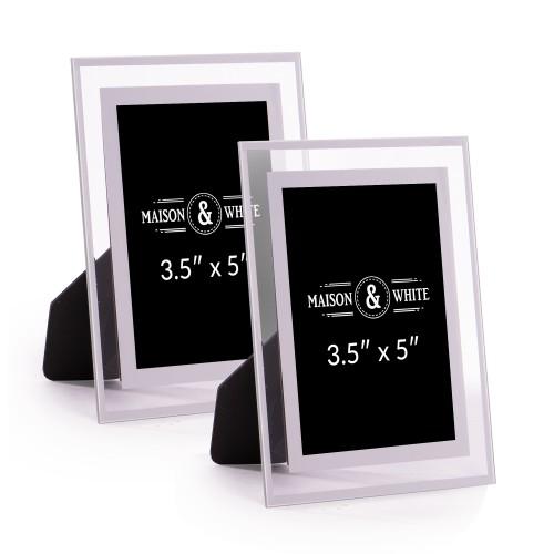 "Glass Photo Frames - Set of 2   MandW 3.5"" x 5"""