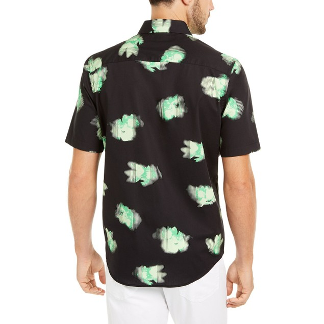 Alfani Classic-Fit Abstract Floral-Print Shirt Black 2 Extra Large