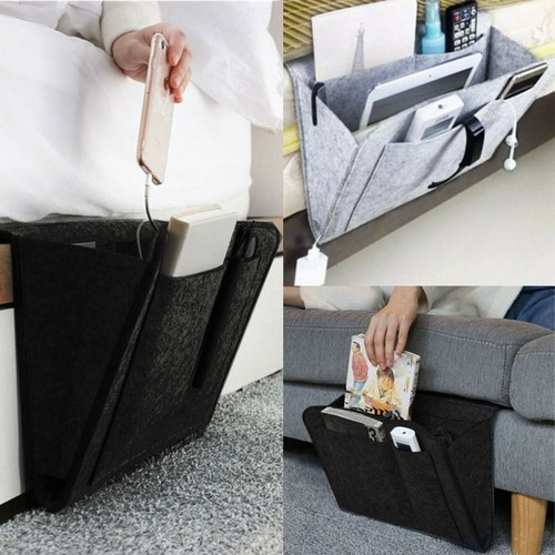 Hanging Sofa Bedside Storage Bag Caddy Pocket Bed Phone Book Holder Or