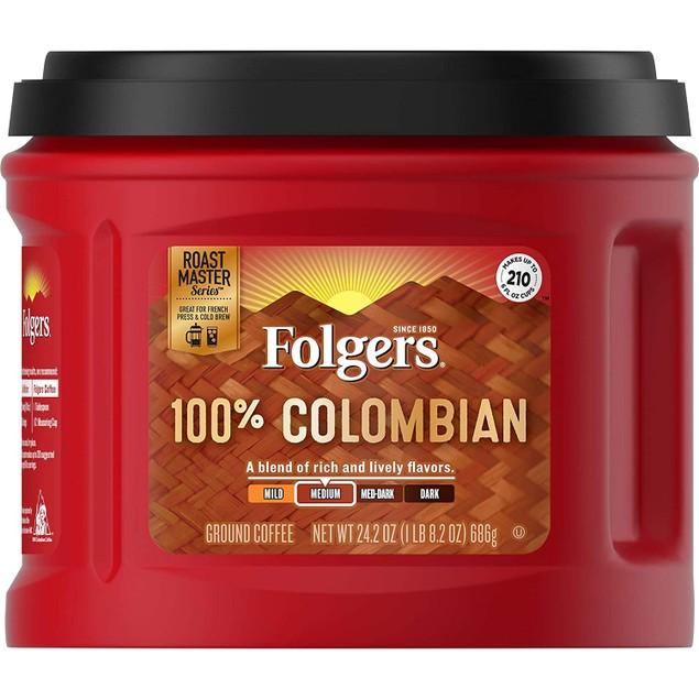 Folgers 100% Colombian Dark Experienced Medium Roast Ground Coffee, 24.2